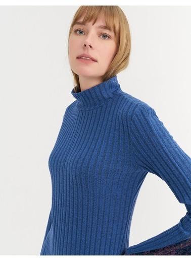 BGN Mavi - Dantel Detaylı Jarse Elbise Mavi